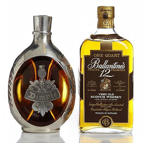 Mixed lot: Ballantine's One Quart & Dimple
