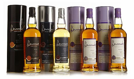 Different bottlings of Benromach