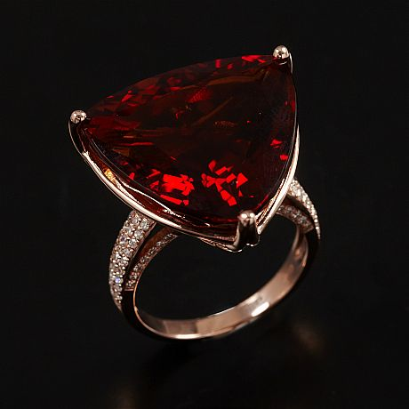 Ring 14 k roséguld citrin