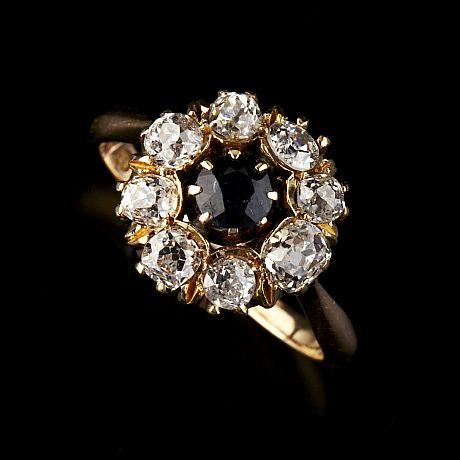 Ring 14 k guld safir diamanter