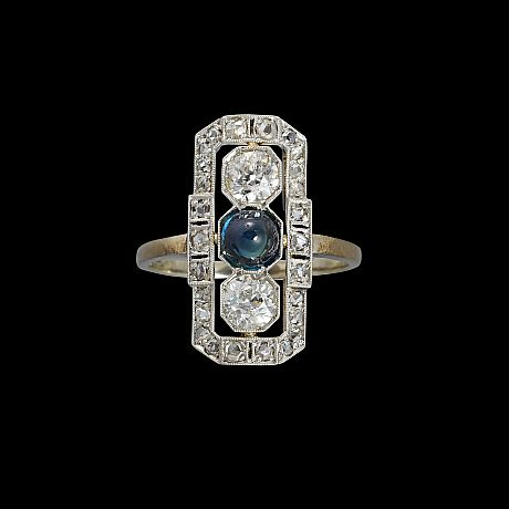 Ring vitguld safir diamanter