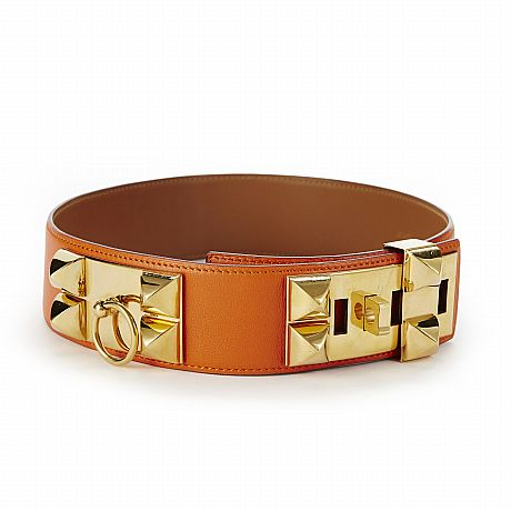 Hermès, skärp Collier de Chien i orange skinn