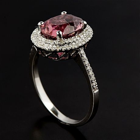 Ring 14 k vitguld rosa turmalin briljanter