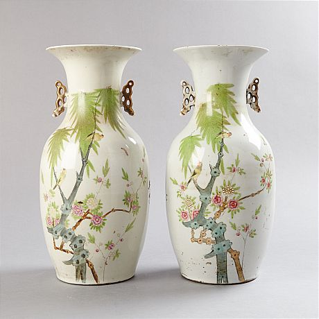 A Pair of Famille Rose Vases (Selected)