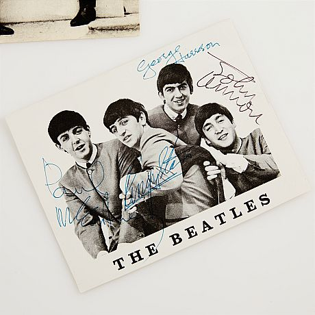 The Beatles vykort med autografer