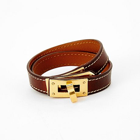 Hermès armband Kelly Double Tour i brunt