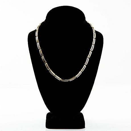 Collier 18 k guld diamanter