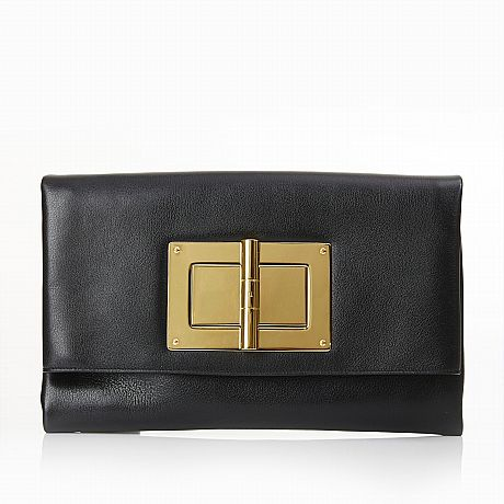 Tom Ford, clutch Soft Natalia i svart skinn