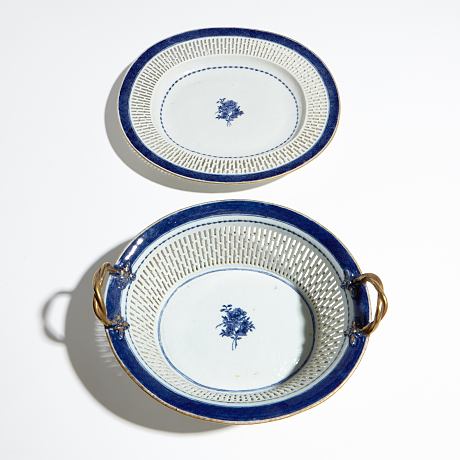 A Blue and White Basket Oriental Selected