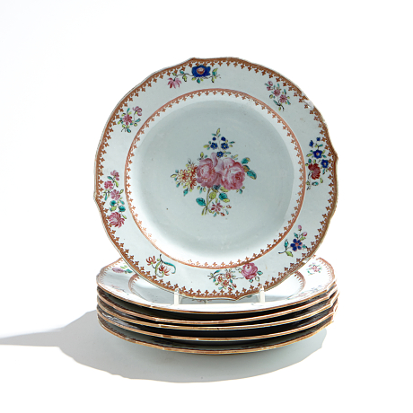A Set of Six Famille Rose Plates Oriental Selected