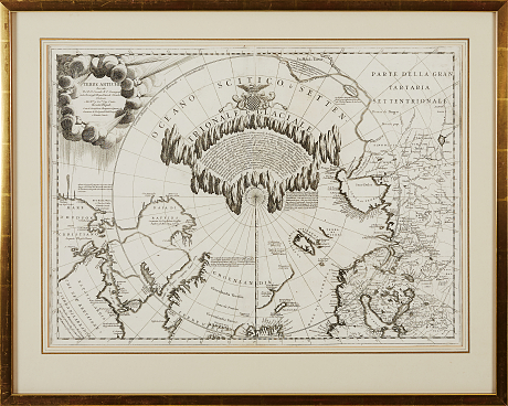 Coronelli's striking map of the Artic c. 1690