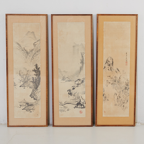 A set of three ink on paper Oriental Selected