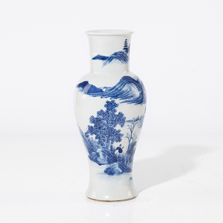 A Blue and White Baluster Vase Oriental Selected