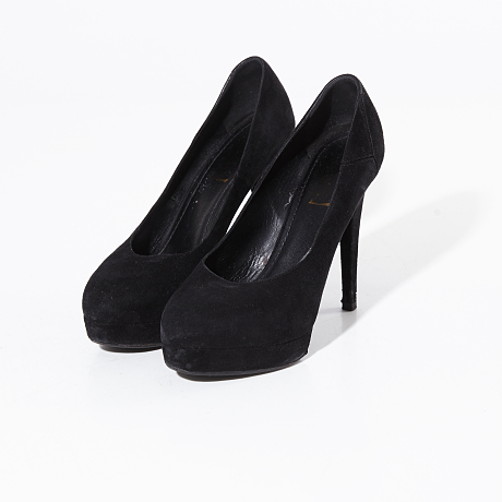 Yves Saint Laurent pumps i svart mocka
