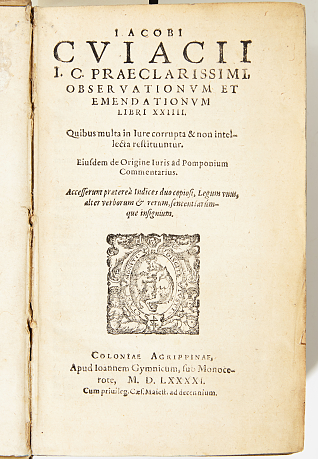 On law Cujas Observationum 1591