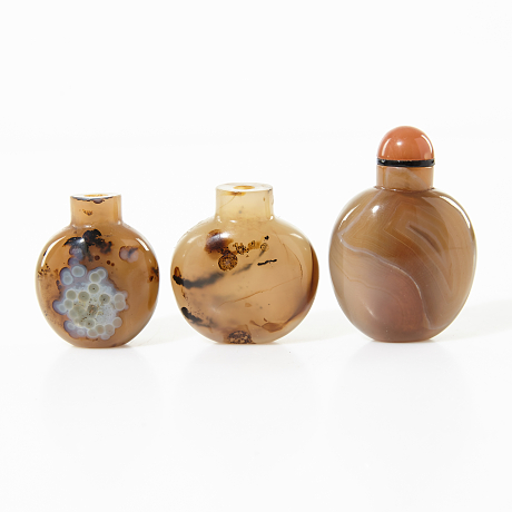 A Collection of Three Agate Snuff Bottles
