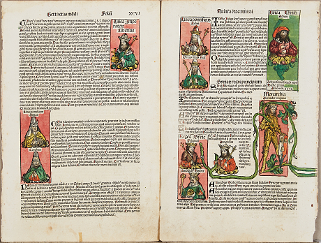 2 inkunabelblad ur Schedel Liber Chronicarum 1493