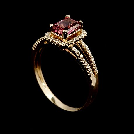 Ring 14 k guld rosa turmalin diamanter