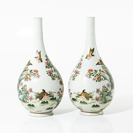 A Pair of Famille Rose Bottle Vases Asian Sale