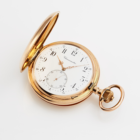 Mens pocket watch in 14 k gold